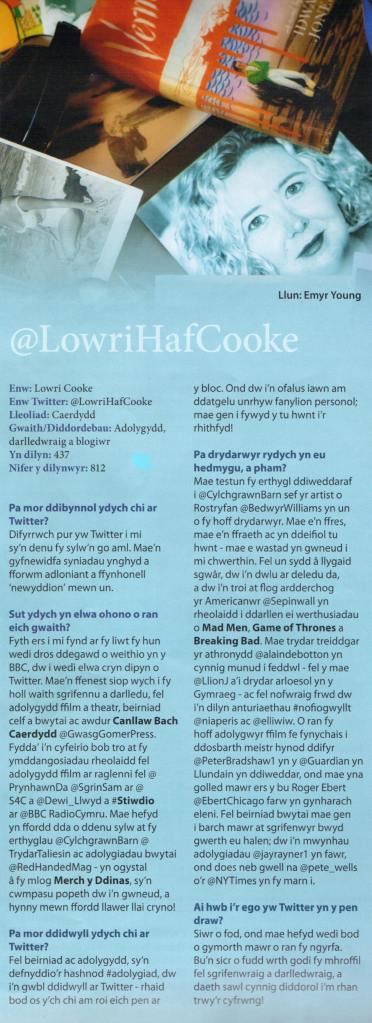 Colofn Trydar Lowri Haf Cooke