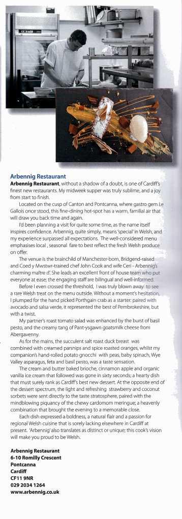 Arbennig Restaurant Review 2014