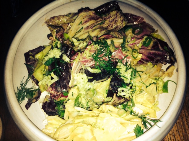 Chicories with anchovy dressing and green horseradish Bar Tartine