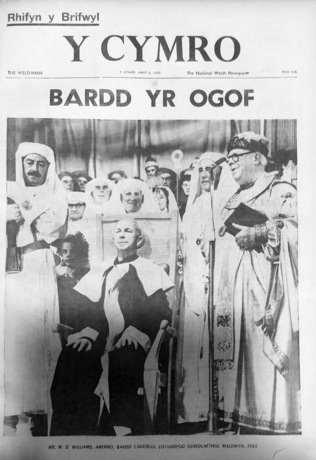 Y Prifardd WD Williams Cadair Eisteddfod Genedlaethol Maldwyn 1965